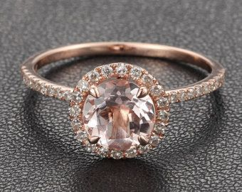 Diamond HALO 7mm Round Morganite Ring .27ct Pave Diamond Ring Claw Prongs 14K Rose Gold Engagement Ring