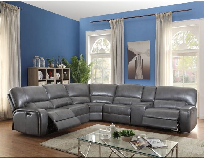 Sectional Sofas  pc Saul collection gray leather aire upholstered sectional sofa with power recliners This