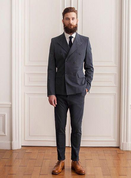 Custom Made Grooms Men Suits With Pants Slim Fit Mens Tuxedos Double  Breasted Black Peak Lapel Jacket + Pants+Tie