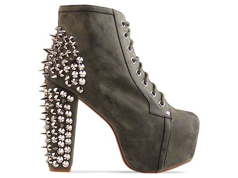 Jeffrey Campbell Lita Spike in Khaki Distressed Silver.