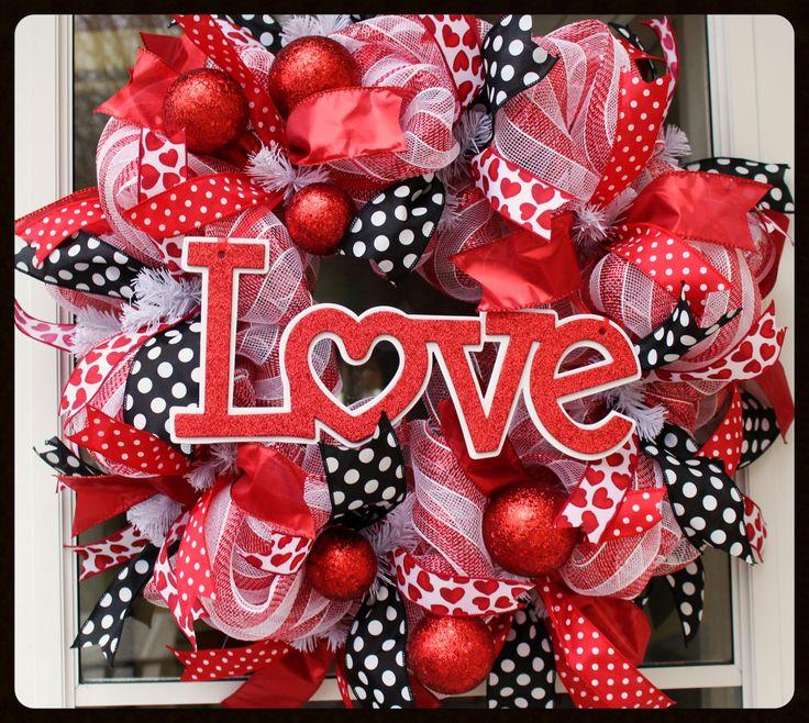 Valentine's Wreath - Love Valentines Day Wreath  - Glitter Valentine - Be Mine - Valentines Day - Deco Mesh Wreath by StephsDoorDecor on Etsy