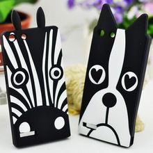 Voor Huawei Ascend G6 3D Zebra Cartoon Hond Silicone Rubber Soft Case Cover voor Huawei G6 Mobiele Telefoon Achterkant Gratis Verzending(China (Mainland))