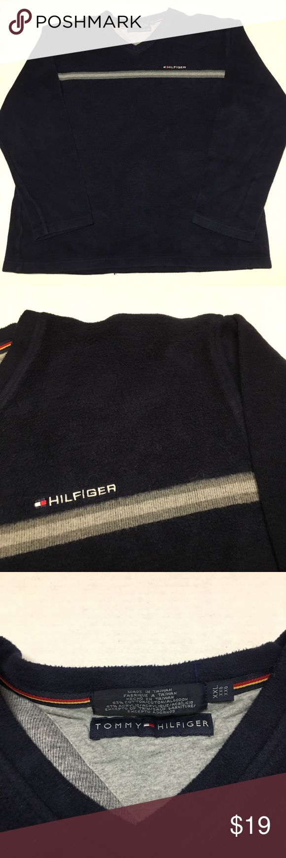 Tommy Hilfiger spell out Flag Logo fleece pullover Fits more like xl but tagged as xxl. This Striped sweatshirt gives off a great vintage vibe and is super comfortable and has no flaws Tommy Hilfiger Shirts Sweatshirts & Hoodies