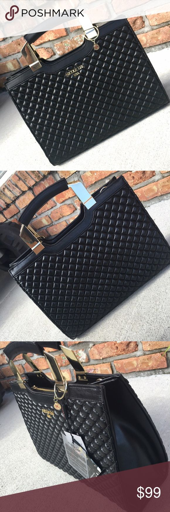 Black Nicole Lee briefcase bag Black quilted leather purse with gold details... Comes with attachable& adjustable shoulder strap... New with tags ..🚫no trades/ holds ⚠️firm on price unless bundling..also available in white & tan Nicole Lee Bags Totes