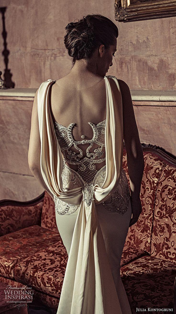 julia kontogruni 2017 bridal sleeveless strap sweetheart neckline bustier heavily embellished bodice glamorous elegant sheath wedding dress illusion back long train (16) zbv