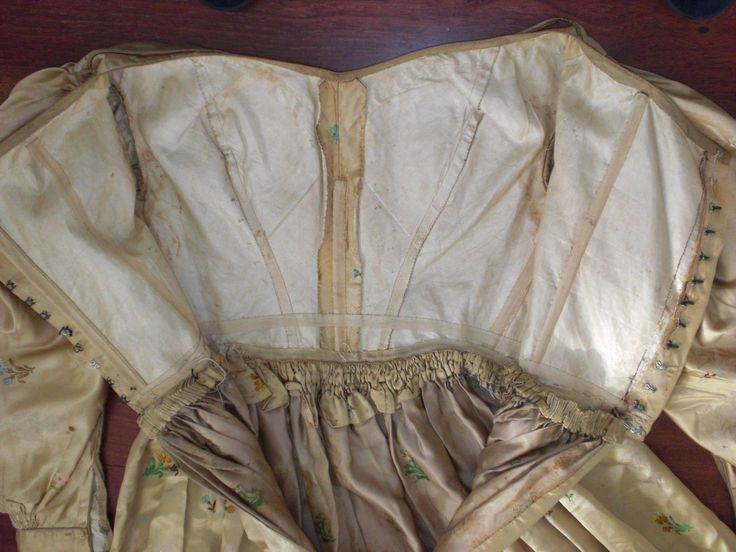 1840s Silk Dress | eBay seller royrgr, hand sewn, some rust spots, underarm discoloration