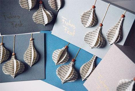 weihnachtskarten selber basteln aus alten buchseiten oder. Black Bedroom Furniture Sets. Home Design Ideas