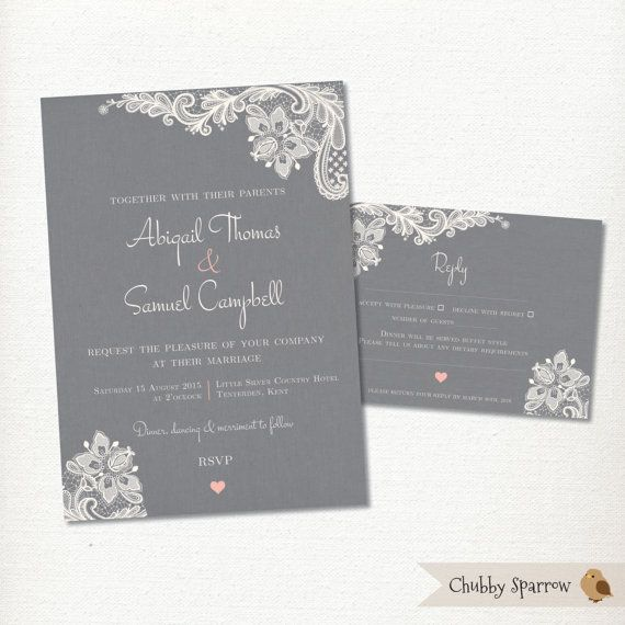 Grey Wedding Invitation RSVP card set kit Lace & by ChubbySparrow