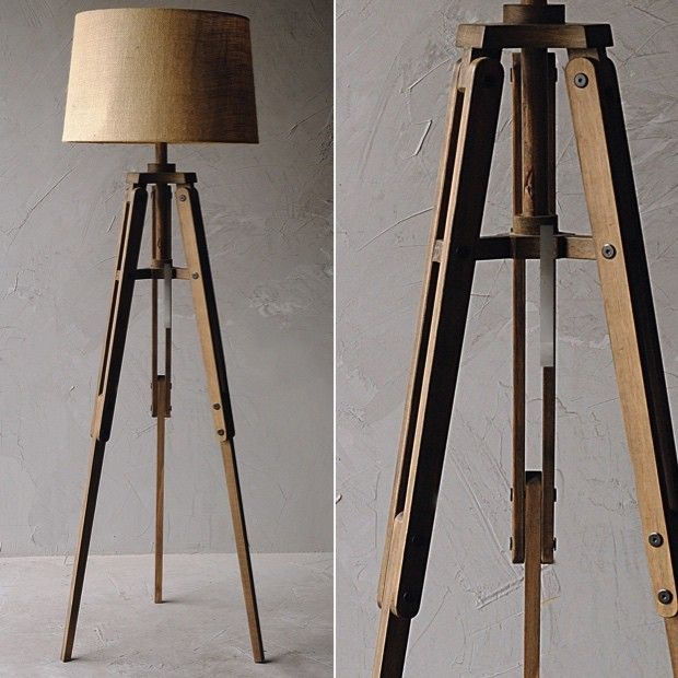 "Wood Tripod Floor Lamp With Burlap Shade $196 Dimensions: 22"" x 19"" x 62.5"" H."