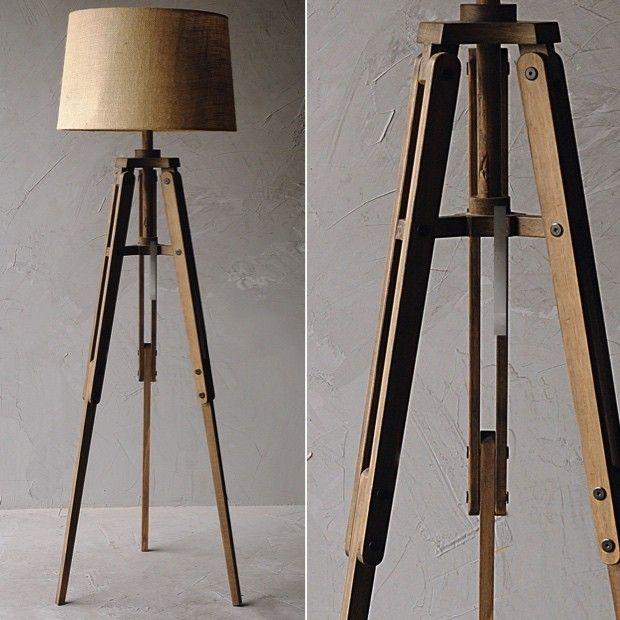 "Wood Tripod Floor Lamp With Burlap Shade $196 Dimensions: 22"" x 19"" x 62.5"" H."