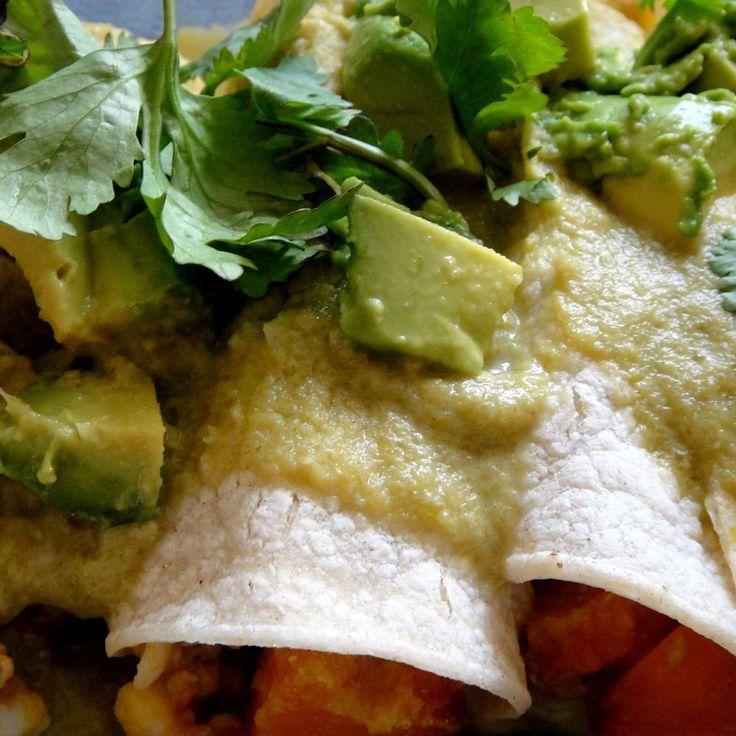 Squash & Shrimp Enchiladas w/ Creamy Tomatillo Sauce | Recipe | Shrimp ...