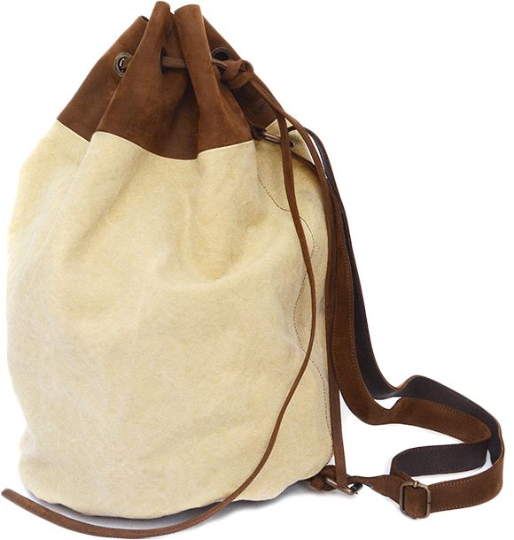 LEATHER/CANVAS SLIGHT BACKPACK  This mini-edition of Slight Leather Backpack is spacious and highly practical, perfect for sport, work, or a ride away. Its slender shape makes it comfortable and distributes the weight between all your odds and ends. Convenient, fast and safe to close with his leather strap; adjustable in length thanks to its strap.   Sizes; height: 70 cm; Diameter: 25 cm.  Packaging in cotton.