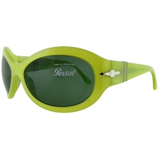 Persol Ladies Yellow Oversized Sunglasses With Green Tinted Lenses. Model Number:  2788-S 719 71. Drawing on a strong Italian heritage in craftsmanship, Persol sunglasses merge past and present in a timeless style.