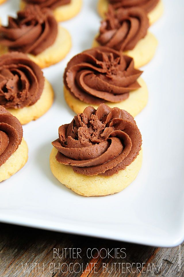 The Best Butter Cookies Recipe with chocolate buttercream frosting