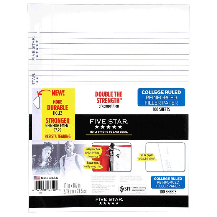 """AmazonSmile : Five Star Filler Paper, College Ruled, Reinforced, Loose Leaf Paper, 11 x 8.5"""", 100 Sheets/Pack (17010) : Office Products"""