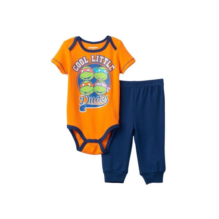 Baby Boy Teenage Mutant Ninja Turtles Graphic Bodysuit & Pants Set, Size: 0-3 Months, Orange