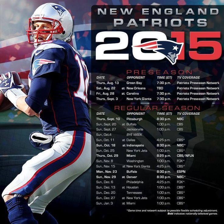 Patriots 2015 Schedule ~ Going for #5!