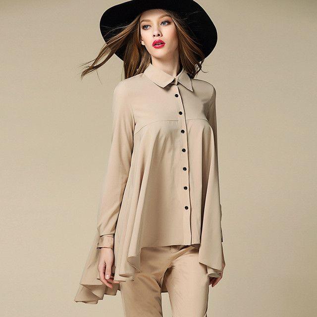 2016 Women's Fashion chiffon blouse Shirts khaki Blusas full Sleeve PatchWork plaid Irregular hem blouse female tops plus size