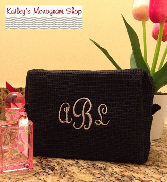 Monogrammed Waffle Cosmetic Bag Make Up Travel Bag Bridesmaid Gift on Etsy    Visit me on Etsy Kaileys Monogram Shop  Or Kaileys Monogram on Facebook