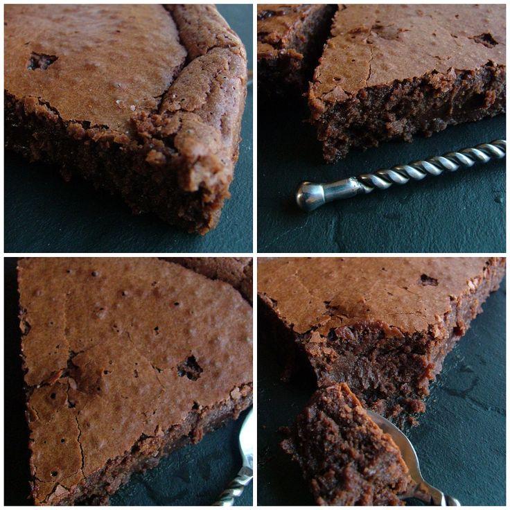 Le gâteau au chocolat comme je l'aime : une croûte fine et claire qui se brise sous la cuillère et révèle un coeur noir, fondant, irrésistible ! C'est fort en chocolat, en calories aussi, oui, c'est vrai, mais... quel plaisir à chaque bouchée. Comme une grande majorité des