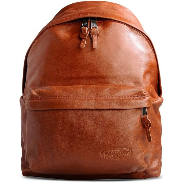 Eastpak Rucksack (260 CAD) ❤ liked on Polyvore featuring bags, backpacks, brown, leather knapsack, leather backpack, brown bag, backpacks bags and leather zipper backpack