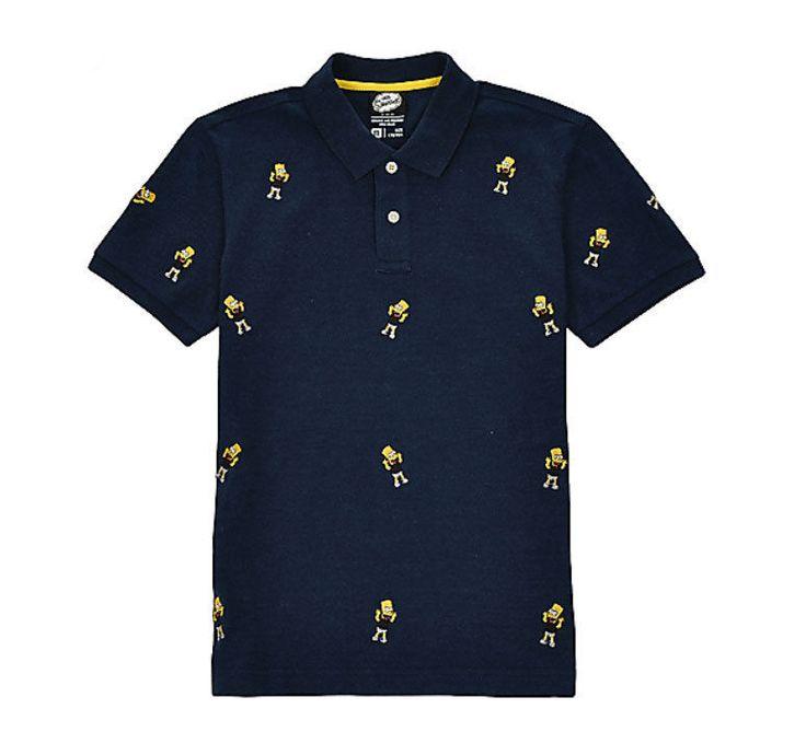 Spao Bart Simpson Whole Embroidery Pattern Polo Kara T Shirt SPHA624C 2 Options | eBay