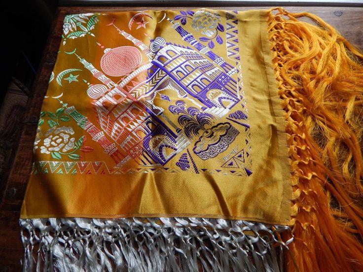 Vintage WWII Silk Brocade PIANO SCARF Yellow Taj Mahal Fringe Tablecloth Shawl