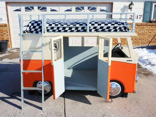 This could be one of the coolest project we've seen in a long time and even if you're not in need of a VW Van in your little one's bedroom it would still make a pretty awesome fort outside, or even a focal point in a play room. Uptonb has provided instructions so you can make your own if you're as jazzed as we are.