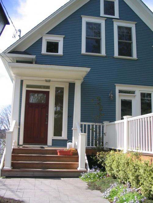 blue house, white trim | House exterior blue, Cottage ...