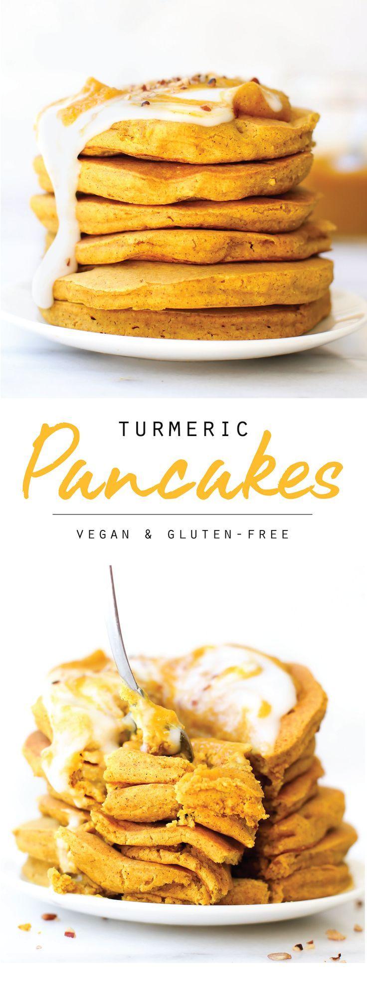 Turmeric Spice Pancakes {vegan, gluten-free, no banana}