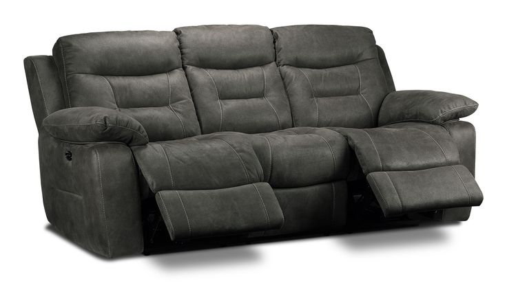 Living Room Furniture - Collins Power Reclining Sofa - Charcoal Grey