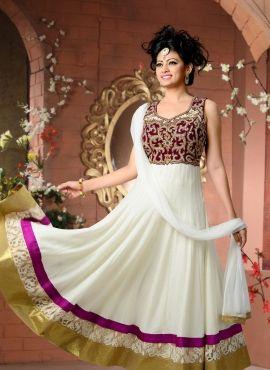 White latest fashion anarakli shalwar kameez in net and velvet