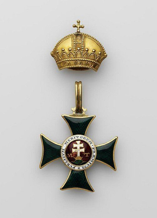 The cross and crown of the badge of the Order of Saint Stephen of Hungary I class Belonged to Emperor Nicholas I. Austria-Hungary, first half of the XIXth century. Gold; punching, engraving, enamel on guilloche
