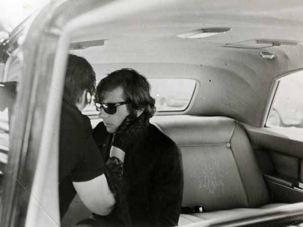 Roman Polanski at the funeral of his wifeSharon Tatewas murdered by Charles Manson and his followers 9 August 1969
