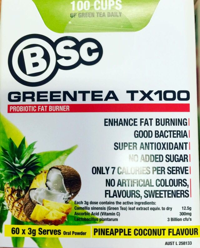 For the first time probiotics meets 100 cups of green tea in an advanced weight loss system. All natural GreenTea TX100 is a delicious tasting, 7 calorie, convenient and easy to use sachet The health and weight loss benefits associated with the regular consumption of green tea are well-documented and now Body Science would like to introduce you to the latest in product development - our new GREENTEA TX100. http://www.bodyscience.com.au/shop/green-tea-tx100.html