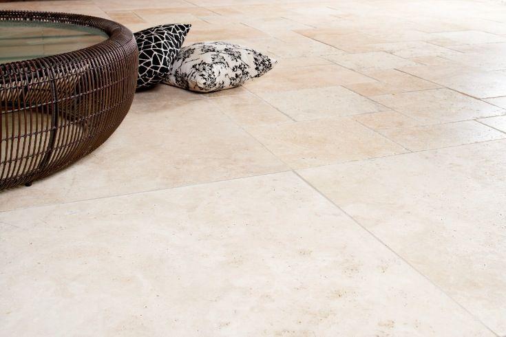Eco Outdoor Ravello travertine paving Outdoor Design | Natural stone flooring | Natural stone paving | Garden design | Outdoor paving | Outdoor design inspiration | Outdoor style | Outdoor ideas | Luxury homes | Paving ideas | Garden ideas | Floor tiles | travertine flooring