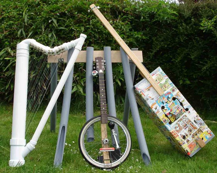 42 best images about musiek instrument recycled on pinterest for Homemade recycled products