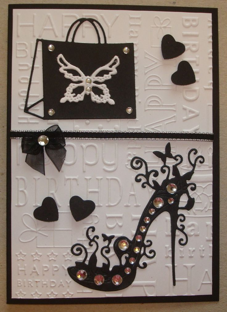 Hand made birthday card using tattered lace shoe die, happy birthday embossing folder and handbag die