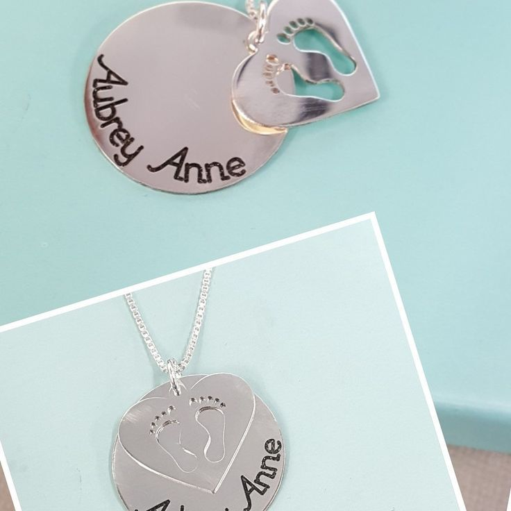Perfect gift for Mom! Double charm necklace personalized with kids names. Gorgeous heart on top with cut out little feet. Sterling silver or gold plated. Also available in solid gold upon request.