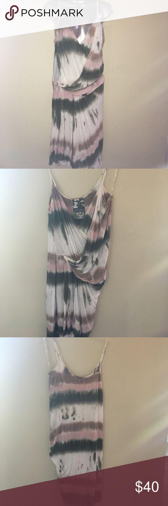 Young Fabulous and Broke Kulani Tie Dye Dress Lrg Tie Dye Multi Color short dress (rose, brown, cream, olive & white).                                 A2 Young Fabulous & Broke Dresses Midi