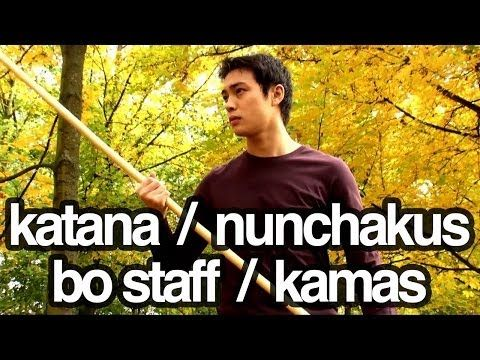 Nunchakus, katana, bo staff / stick, kamas - Martial arts weapons freestyle training - YouTube