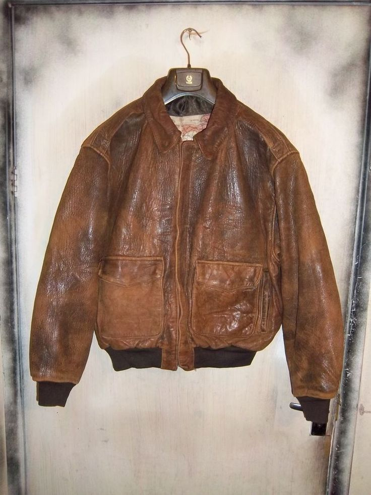 VINTAGE USAAF ISSUE AVIREX A2 DISTRESSED LEATHER FLYING