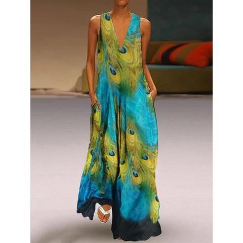 Temperament V-Neck Large Print Dress