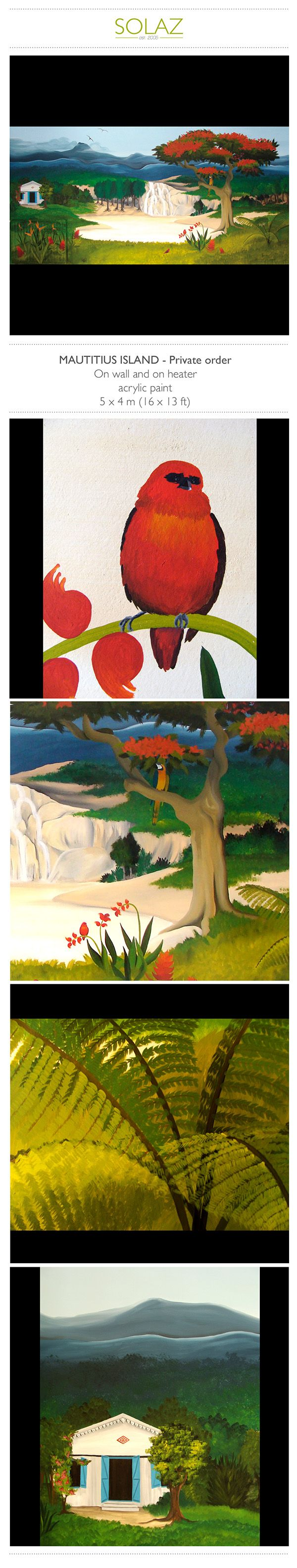MAUTITIUS ISLAND - Private order by Helene Bataille, via Behance -  www.designbysolaz.com #drawing #illustration #painting #paint #mural #wallpainting #mauritius #island #paradise #landscape #mountains #artisanal #handwork #livingroom