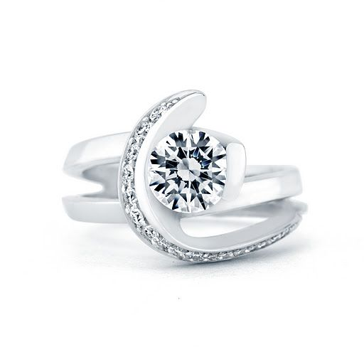 """""""Vision"""" diamond engagement ring with architectural pave diamond band design, available by special order at Greenwich Jewelers"""