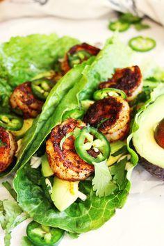 Spicy Shrimp and Avocado Lettuce Wraps [21 Day Fix]