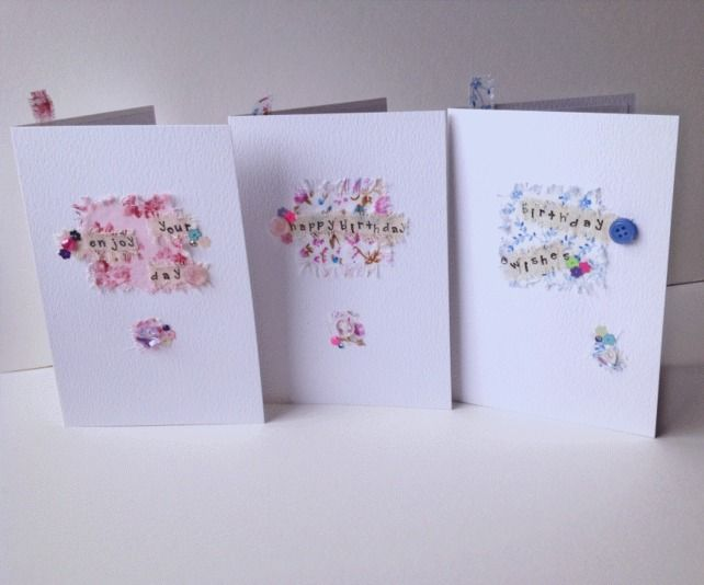 Collage Design,Birthday Cards,Pack of 3,Assorted Colours,Handmade Greeting Cards £5.20