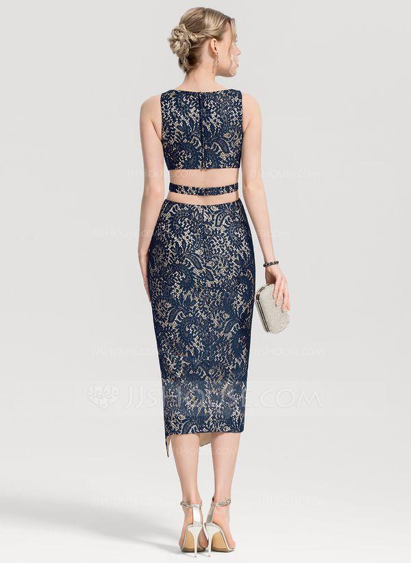Sheath/Column Scoop Neck Tea-Length Lace Cocktail Dress With Split Front (016155…