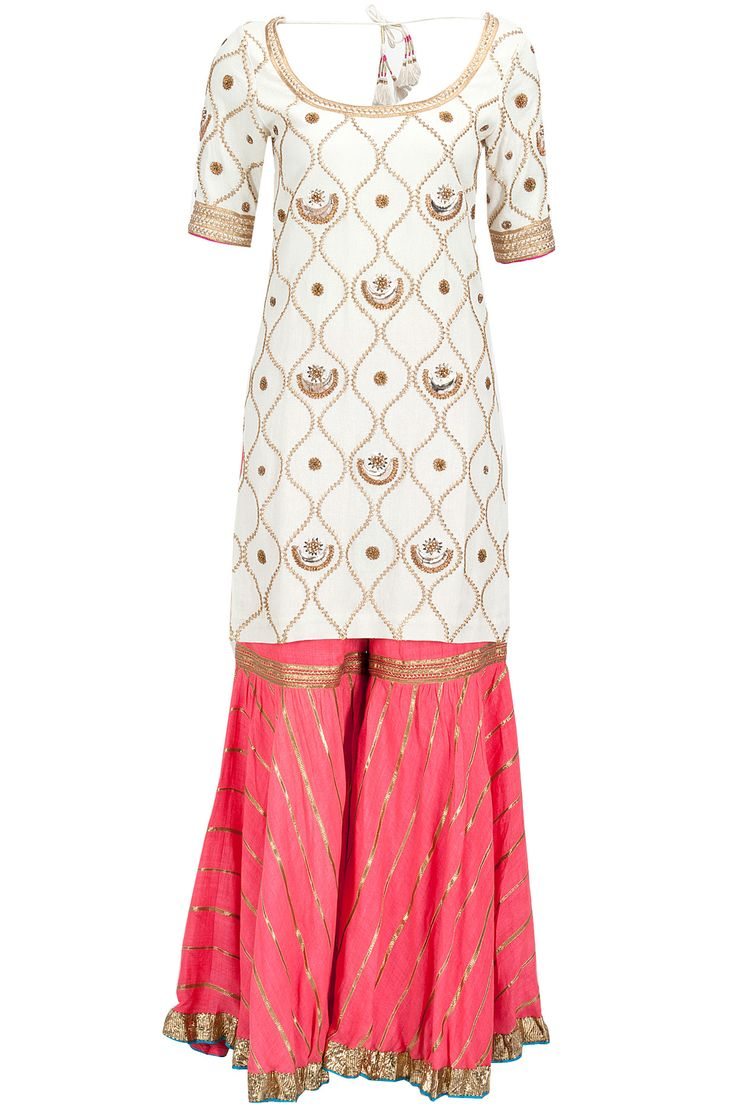 Ivory embroidered kurta with peach gharara available only at Pernia's Pop-Up Shop.