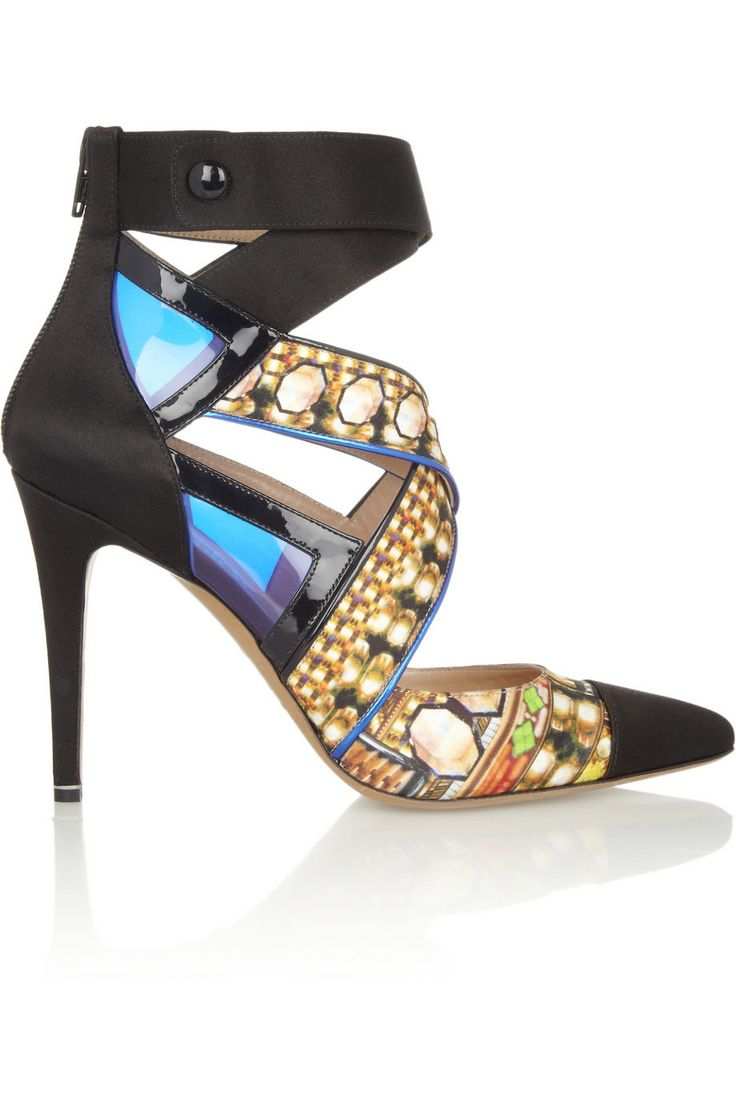Cutout Satin and Patent Leather Pumps by Nicholas Kirkwood